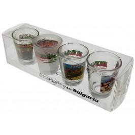Комплект четири броя сувенирни стъклени чаши с декорация - 2 чашки с изображения от Пловдив и две с - български мотиви