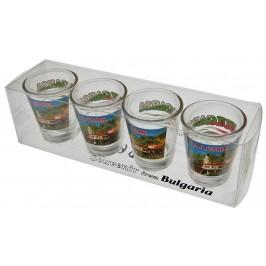 Комплект четири броя сувенирни стъклени чаши с декорация - двореца в Балчик