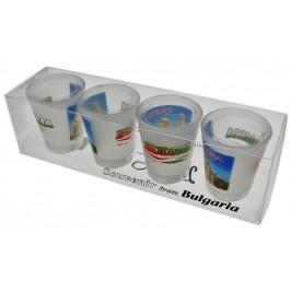 Комплект четири броя сувенирни стъклени чаши с декорация - катедралата във Варна
