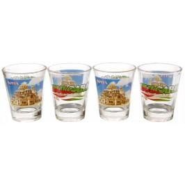 Комплект четири броя сувенирни стъклени чаши с декорация - Храм