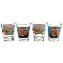 Комплект четири броя сувенирни стъклени чаши с декорация - Несебър