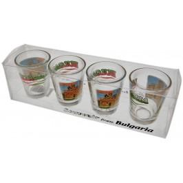 Комплект четири броя сувенирни стъклени чаши с декорация - църква в Несебър