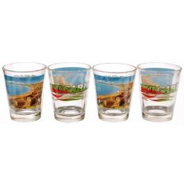 Комплект четири броя сувенирни стъклени чаши с декорация - Слънчев бряг