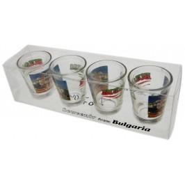Комплект от четири броя сувенирни стъклени чаши с декорация - Варна