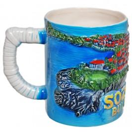 Сувенирна чаша от порцелан с релефни забележителности от Созопол