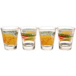 Комплект от четири броя сувенирни чаши изработени от стъкло