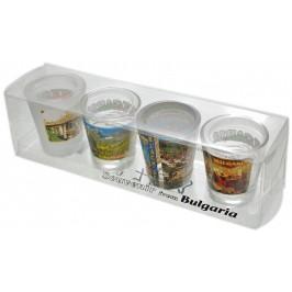 Комплект от четири броя чаши от стъкло с декорация