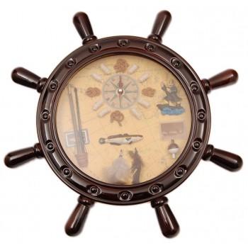Декоративен стенен часовник - рул с морски мотиви, изработен от дърво