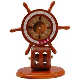 Сувенирен настолен часовник - рул с морски мотиви - дърво
