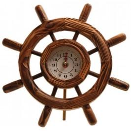 Декоративен стенен часовник - рул, изработен от дърво
