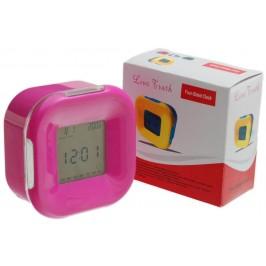 Настолен електронен часовник с прозрачен, тънък дисплей