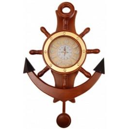 Декоративен стенен часовник - котва с морски мотиви, изработен от дърво