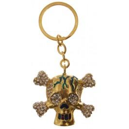Сувенирен метален ключодържател - череп с кости, инкрустиран с бели камъни