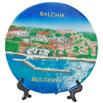 Релефна сувенирна чинийка - пристанището в Балчик