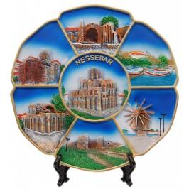 Сувенирна релефна чиния - забележителности на Несебър
