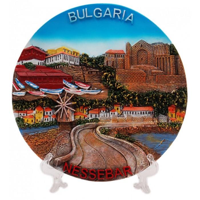 Сувенирна релефна чиния - провлакът в Несебър с вятърната мелница и надпис България