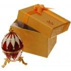 Декоративна кутийка за бижута - яйце на Фаберже, инкрустирано с цветни камъни