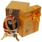 Декоративна метална кутийка за бижута - яйце на Фаберже, инкрустирано с камъни
