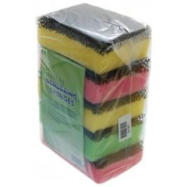 Домакински прибор - гъба за съдове с абразивно покритие от една страна за лесно отстраняване на загорели повърхности