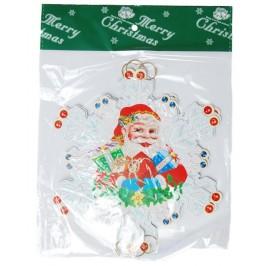 Коледен гирлянд от 5 картонени фигурки с двустранен цветен принт - снежинка с Дядо Коледа