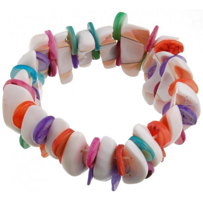 Красива гривна от декоративни, цветни миди на ластична основа