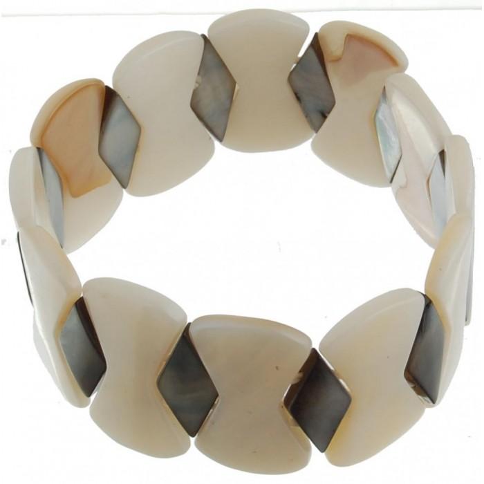 Гривна от плочки седеф на ластична основа