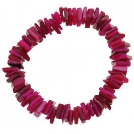 Красива гривна от цветни миди - червени - на ластична основа