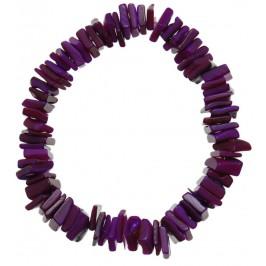 Красива гривна от цветни миди - лилави - на ластична основа