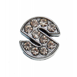Метален аксесоар за гривна с формата на буквата S, инкрустиран с малки, бели камъчета