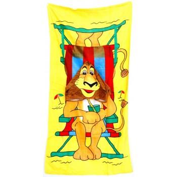 Плажна хавлия с качулка - лъв с коктейл