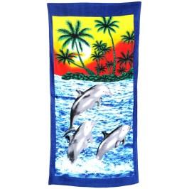 Плажна хавлия - три делфина скочила над водата