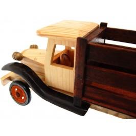 Сувенирен, дървен ретро камион с въртящи се гуми