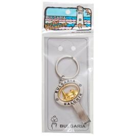 Сувенирен метален ключодържател - отварачка с въртяща се плочка - Двореца в Балчик