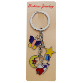 Сувенирен метален ключодържател - четири фигурки - двойно сърце, пеперуда, луна и звезда