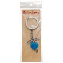 Сувенирен метален ключодържател - буква Т с декоративни камъчета и синьо сърце