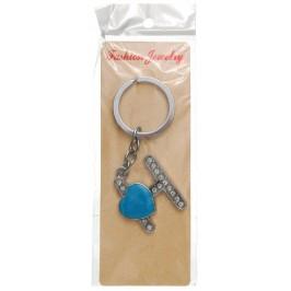 Сувенирен метален ключодържател - буква Н с декоративни камъчета и синьо сърце