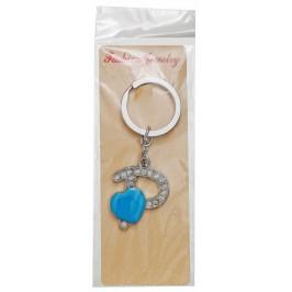 Сувенирен метален ключодържател - буква Р с декоративни камъчета и синьо сърце