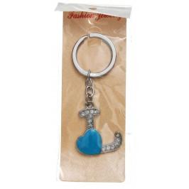 Сувенирен метален ключодържател - буква L с декоративни камъчета и синьо сърце