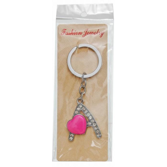 Сувенирен метален ключодържател - буква А с декоративни камъчета и розово сърце