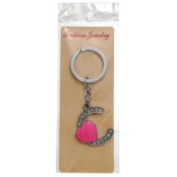Сувенирен метален ключодържател - буква С с декоративни камъчета и розово сърце