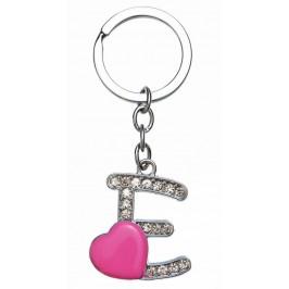 Сувенирен метален ключодържател - буква Е с декоративни камъчета и розово сърце