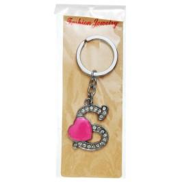 Сувенирен метален ключодържател - буква S с декоративни камъчета и розово сърце