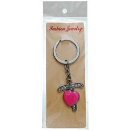 Сувенирен метален ключодържател - буква Т с декоративни камъчета и розово сърце