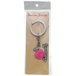 Сувенирен метален ключодържател - буква V с декоративни камъчета и розово сърце