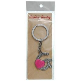 Сувенирен метален ключодържател - буква G с декоративни камъчета и розово сърце