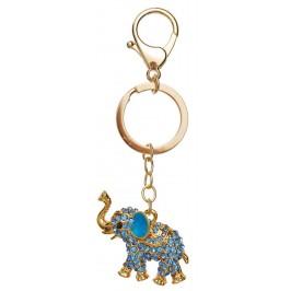 Сувенирен метален ключодържател - слонче, инкрустирана с цветни камъни