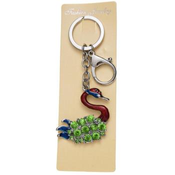 Сувенирен метален ключодържател - лебед, инкрустиран със зелени камъни
