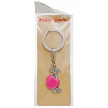 Сувенирен метален ключодържател - буква I с декоративни камъчета и розово сърце