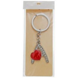 Сувенирен метален ключодържател - буква А с декоративни камъчета и червено сърце
