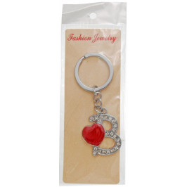Сувенирен метален ключодържател - буква В с декоративни камъчета и червено сърце